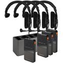 Beyerdynamic UNITE 4-UNIT BUNDLE All-in-1 Wireless Intercom Bundle w /  4 Single-ear Headsets / 3 Bodypack Receivers