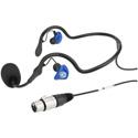 Clear Com CC-70-X4 Lightweight Wrap Around Dual Ear Female XLR4 Headset Mic - 100Hz-14kHz
