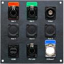 Custom 6x6 Black Andodized Panel with BNC EtherCON HDMI and DBA