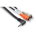 Hosa CMR-203R Right Angle 3.5mm Stereo Mini Male to Dual RCA Male Audio Y-Cable - 3 Foot