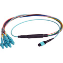 Camplex CMX-MTPMMLC-003 MTP Elite PC Male to 12 LC PC Duplex External OM3 AQUA Multimode Fiber Breakout Cable-3 Foot