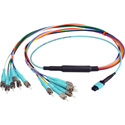 Camplex CMX-MTPMMST-003 MTP Elite PC Male to 12 ST PC External OM3 AQUA Multimode Fiber Breakout Cable-3 Foot