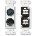 RDL D-XLR2 XLR 3-pin Female & 3-pin Male on Decora Wall Plate with Terminal Block connections on rear