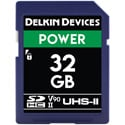 Delkin DDSDG200032G POWER V90 UHS-II SDXC Memory Card 300/250 - 32GB