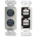 RDL DS-XLR2F Dual XLR 3-pin Female Jacks on Decora Wall Plate - Terminal Block on rear - Stainless steel
