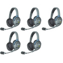 Eartec HUB5D UltraLITE & HUB 5 Person Intercom System with 5 Double Headsets Powered by Li-Ion