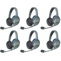 Eartec HUB6D UltraLITE & HUB 6 Person Intercom System with 6 Double Headsets Powered by Li-Ion