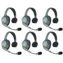 Eartec HUB6S UltraLITE & HUB 6 Person Intercom System with 6 Single Headsets Powered by Li-Ion
