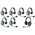 Eartec HUB7SMXD UltraLITE & HUB 7 Person Intercom System with 6 Single Headsets/1 Max 4G Double w/ Li-Ion Batteries