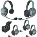 Eartec UL514 UltraLITE 5 Person System with 1 Single 4 Double Headsets/Li-Ion Batteries/Charger & Case