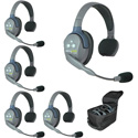 Eartec UL5S UltraLITE 5 Person System w/ 5 Single Headsets Batteries Charger & Case - Li-Ion Batteries