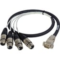 Laird ED-BE-4XF-003 Premium HD15 to XLR Female Analog Audio I/O Breakout Cable for Ensemble Designs BrightEye 23/25 - 3