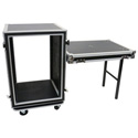 Elite Core Audio SC16U-20SL 16 Space ATA Amp Rack Case with Casters and Attached Utility Table