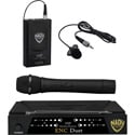 Nady ENC Duet HT/LT/O 2-Channel VHF Wireless Lav/Handheld Mic System - Channel A / F 171.905 MHz-203.400 MHz