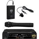 Nady ENC Duet HT/LT/O 2-Channel VHF Wireless Lav/Handheld Mic System - Channel B / D 185.150MHz-209.150MHz