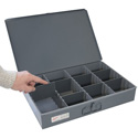 Fehr Brothers TSBOX-F Fehr Brothers Metal Organizer Storage Box with 8 Adjustable Dividers 18x12x3