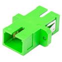 SC to SC APC Fiber Adapter Simplex Singlemode with Zirconia Sleeve & Plastic Flange - Green