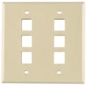 HellermannTyton FPDGSIX-I Six Port Dual Gang Flushmount Faceplate Ivory