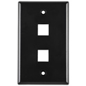 HellermannTyton FPDUAL-BK Two Port Flushmount Faceplate Black
