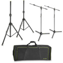 Gravity Stands GSSMSSET1 2 Speaker Stands and 2 Microphone Boom Stands with Transport Bag