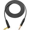 Sescom GS6-TSTSA-3 Instrument Cable Canare GS-6 1/4 TS Mono Male to Right-Angle 1/4 TS Mono Male w/ Neutrik PX Plugs Bla