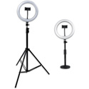 Gator GFW-RINGLIGHTSET Set of Two Height-Adjustable Stands with Pivoting LED Ring Lights & Universal Phone Holders