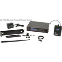Galaxy Audio AS-1400M Wireless In-ear Monitor System with Receiver / Earbuds & Rackmount Kit - M Band 516-558MHz