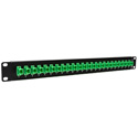 Camplex HF-OPRP-11 Patch Panel - 1RU 24-Port Preloaded with SC APC Simplex Single Mode Adapters - Green