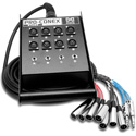 Hosa SH-8X4-100 Pro-Conex Stage Box Snake 8 x XLR Sends and 4 x 1/4 in TRS Returns 100 ft