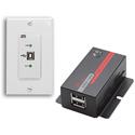 Hall Technologies U22-160-DP USB 2.0 Over UTP Extender Decora Wall Plate with 2-Port Hub
