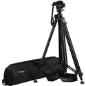 E-Image EG03FA3 2-Stage Aluminum Video Tripod Kit with 65mm Bowl - 11 lbs Payload & Rising Column