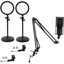 ikan HomeStream Kit 2 with 2 Desktop Lights & Comica STM-USB Podcast Microphone with Adjustable Arm