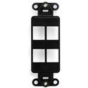 Leviton 41644-E QuickPort Decora Insert 4-Port - Black