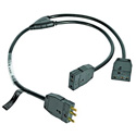 Lex Products 3123J-SP Two-Fer Junior 12/3 SJT 20 Amp 36 Inch Y Cable with Stage Pins 1 Male to 2 Female Bates Connectors