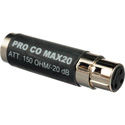 Pro Co Sound MAX20 InLine Pad Adapter XLRF/XLRM 20dB