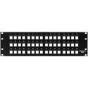 HellermannTyton P108-48-MOD Snap-In Blank Keystone Rack Panel - 3 Rows of 16 Ports (3RU)