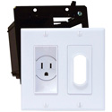 Double Gang Decor Recessed Receptacle HDTV Plate Kit Black