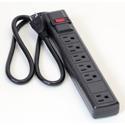 Milspec D155200BK 6 Outlet Power Strip with 3 Foot Cord - Black