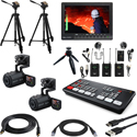 Blackmagic Design ATEM Mini HDMI Live Production Switcher Kit with Canon VIXIA HF R800 Camcorders and Bescor Tripods