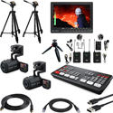 Blackmagic Design ATEM Mini Pro Live Production HDMI Switcher Kit w/ Canon VIXIA HF R800 Camcorders & Bescor Tripods