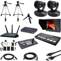 Blackmagic Design ATEM Mini Pro Live Production HDMI Switcher Kit with AViPAS AV-1081 PTZ Cameras and Bescor Tripods