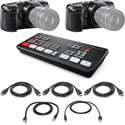 Blackmagic Design ATEM Mini Live Production Switcher Kit with 2x Pocket Cinema 4K Cameras & HDMI Cables