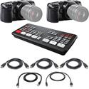 Blackmagic Design ATEM Mini Pro Live Production Switcher Kit with 2x Pocket Cinema 4K Cameras & HDMI Cables