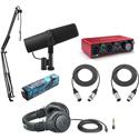 Shure SM7B Podcast Creators Kit w/ Focusrite Scarlett 2i2 Interface/Gator Mic Boom Arm/Audio-Technica M20x Headphones