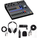 ZOOM L-8 LiveTrak 8-Channel Digital Mixer Kit with ZOOM ZDM-1 Podcast Mic Pack