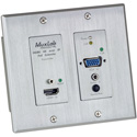 Muxlab 500773-TX-WH HDMI and VGA Over IP PoE Wall Plate Transmitter - UHD-4k (White)