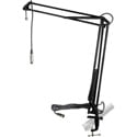 MXL BCD Stand Articulating Mic Boom Arm Radio DJ/Talk Show/Podcast Desktop Stand with attached 12 foot Mic Cable - Black