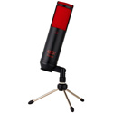 MXL MXLTEMPOKR TEMPO USB 2.0 Condenser Microphone with Headphone Jack - Black Body/Red Grill