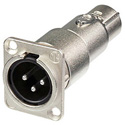 Neutrik NA3MDF 3 Pin XLR-M to XLR-F Adapter for D Panel Mounting