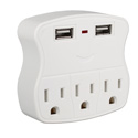 5-Outlet Wallmount Power Block with Dual-USB Charging Ports